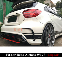 A45 AMG Diffuser+304 Stainless Steel 4 Outlet Exhaust Tip ABS Fits For Mercedes Benz W176 Sport Edition A180 A200 A250 2013+