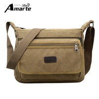 Amarte Vintage Men Messenger Bags Canvas Crossbody Bags For Men Shoulder Bags Business Men Handbags High