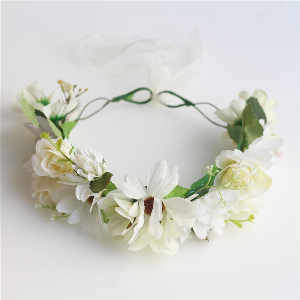 Floral Crown Head Wreath White Flower Headband Hair Garland Wedding