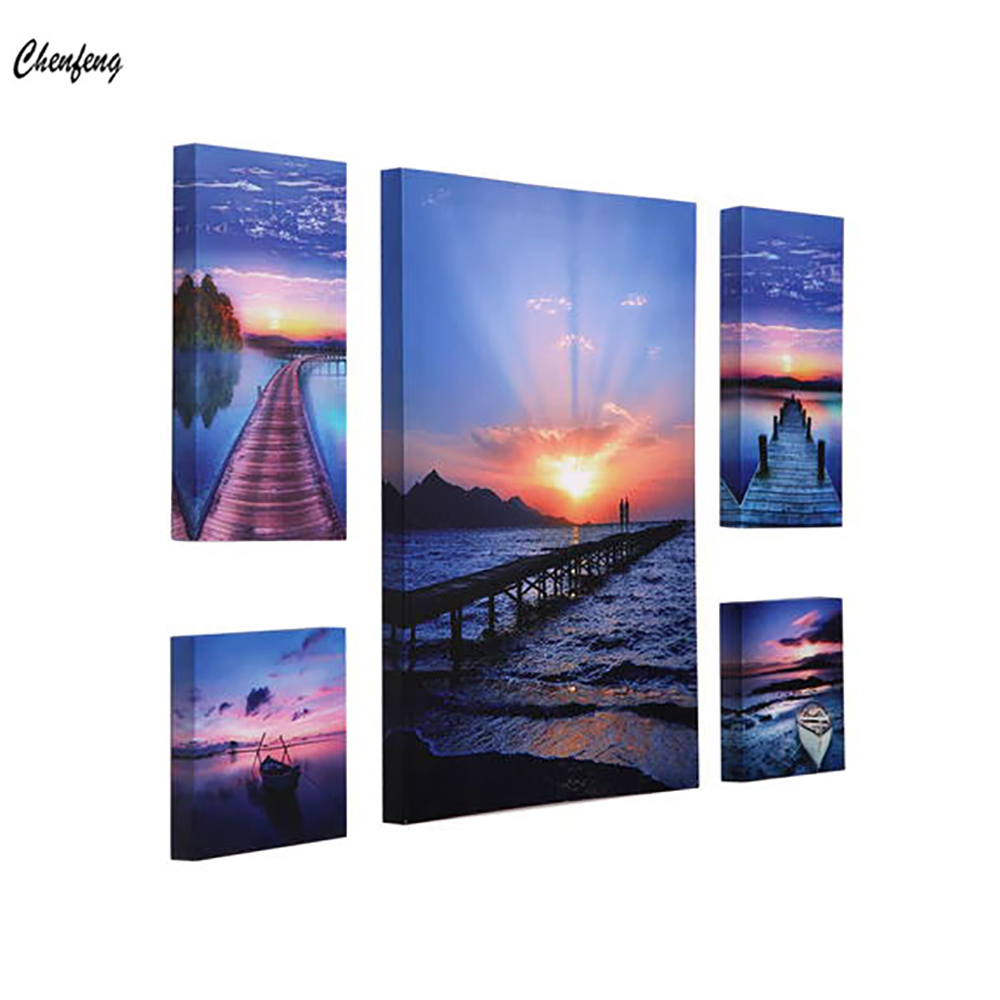 Beautiful Sunset Glow Seascape Dock Beach HD Print On Canvas Home Wall Art Decor