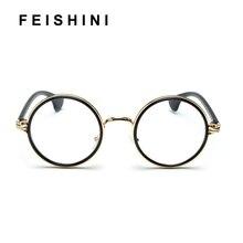 09315a1a1f7 FEISHINI Classic euramerican fashion Round Glasses Frames Women Vintage  Star Style Chrome Quality Eyewear Frames Men