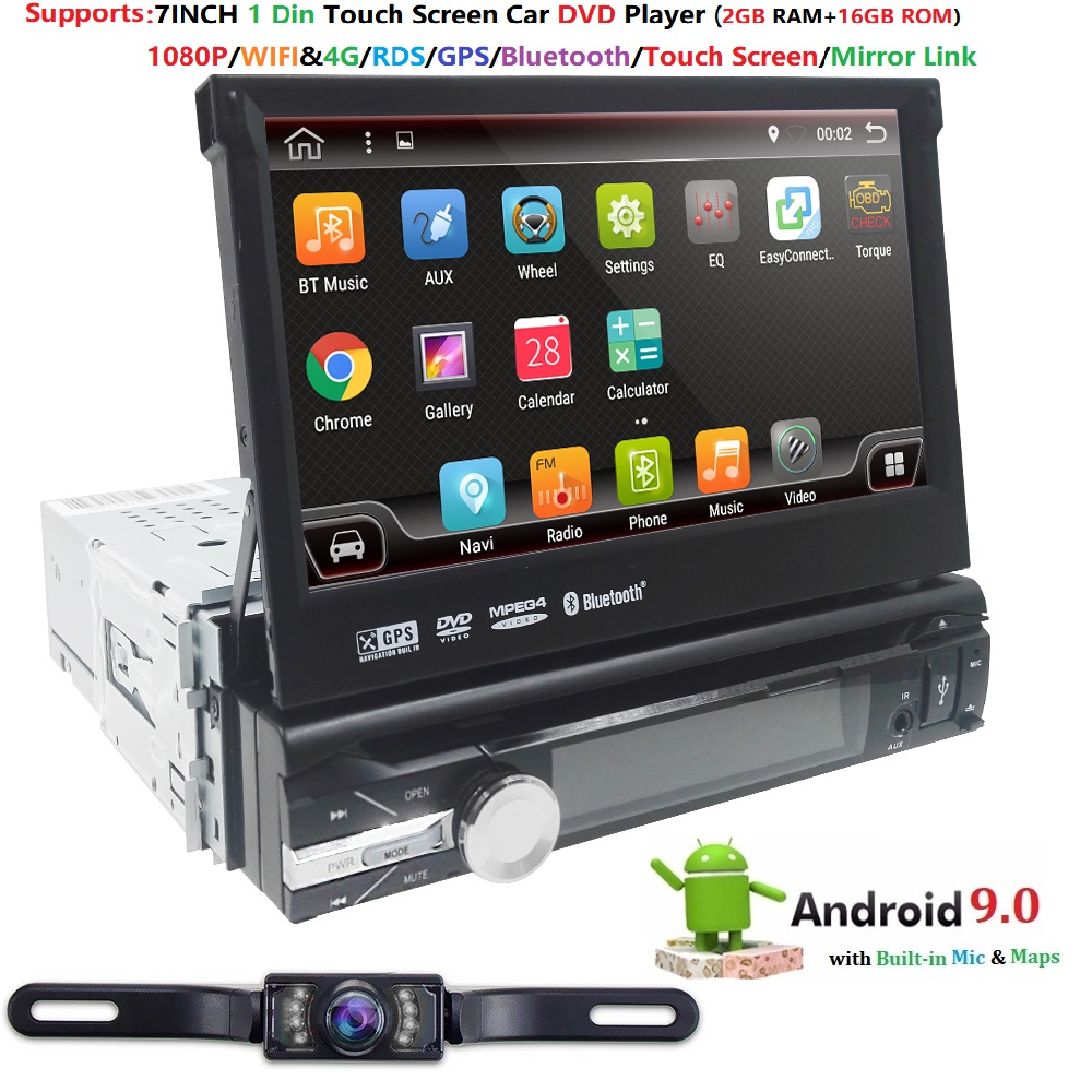 "Hizpo Quad Core 7"" 1Din Android 9.0 Car DVD Radio Multimedia Player 1024*600 Universal GPS Navigation auto radio Stereo Audio 4G"