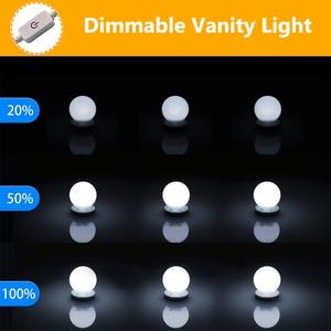Image 4 - 10Pcs Makeup Mirror Vanity LED Light Bulbs lamp Kit 3 Levels Brightness Adjustable Lighted Make up Mirrors Cosmetic lights