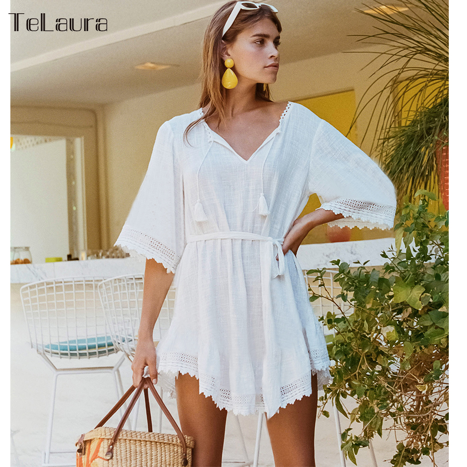 2019 Beach Cover Up, 3 Styles, Lace Hollow, Crochet Swimsuit Beach Dress, Women's Swimwear Cover-Up 1