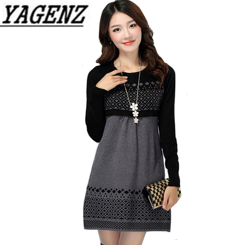 Autumn Winter Women's Fashion Knit Sweater Pullover Dress Large Size Women Long-sleeve Slim Sweater Dress Ladies Clothing 4XL