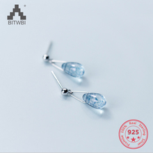 Drop-shipping 925 Sterling Silver Earrings Jewelry Water Drop Shape Blue Opal Natural Stone Earrings for Women Jewellery цена