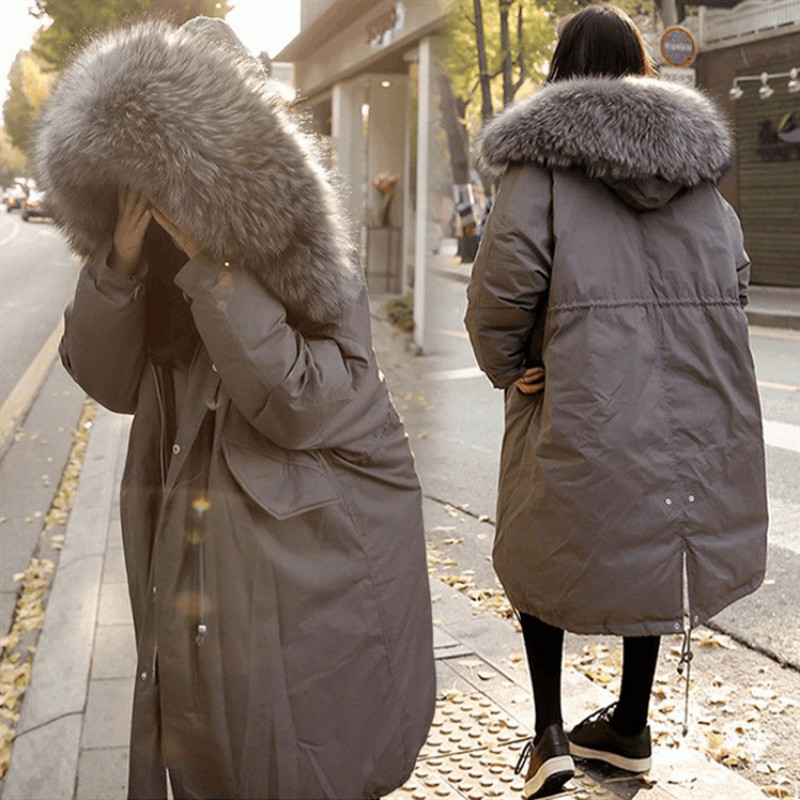 2017 New Winter Coat Loose Hooded Large Fur Collar Long Cotton-padded Jacket Female Thicken Parkas High Quality Student Outwears furlove new real large raccoon fur winter coat women jacket coats collar thicken warm padded cotton lady parkas female jacket