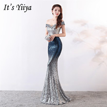 It's Yiiya Evening dresses long Sequined Zipper back Sexy Mermaid Party Gowns Floor-length V-neck Royal Trumpet Prom dress C133 it s yiiya sequined evening dress v neck regular sleeve zipper back mermaid prom dresses floor length formal party gowns c070