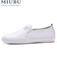 2019 MIUBU Genuine Leather Moccasins Shoes Woman Solid Slip On Boat Shoes Women Flats Shoes Loafers chaussure femme slipony women summer flats genuine leather casual shoes shallow slip on loafers moccasins shoes chaussure femme plus size 35 43