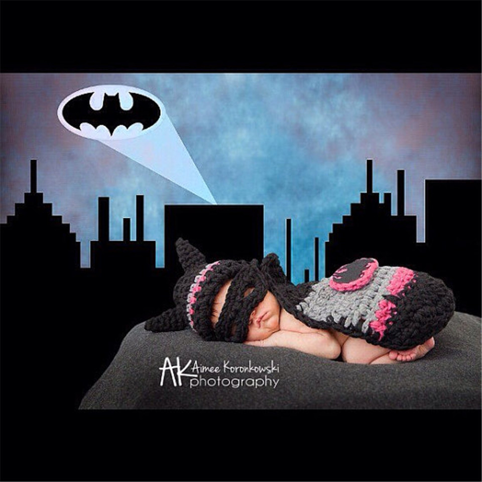 Hot Sale Infant Baby Batman Hat Cape Set Crochet Hot Pink Baby Batman Costume Crochet Newborn Batman Photography Props MZS-16002