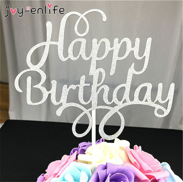 JOY ENLIFE Gold Sliver Bling Happy Birthday Cake Topper For Kids Baby Shower
