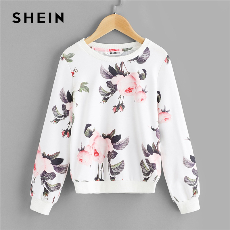 SHEIN Kiddie White Floral Print Sweatshirt For Toddler Girls Tops 2019 Spring Cute Long Sleeve Casual Pullover Kids Clothes letter print crew neck long sleeve men s pullover sweatshirt