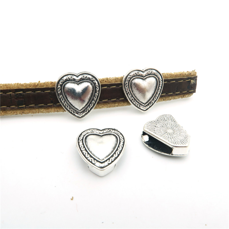10pcs For 10mm flat leather Antique sliver heart Sliders jewelry finding supplies D-1-114 flower print flat sliders