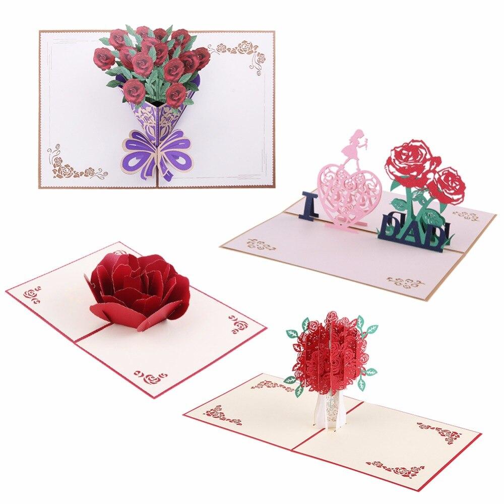 Thank You Cards Postcard With Envelopes 3d Pop Up Paper Laser Cut