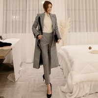 New Elegant Autumn Winter Women Plaid Woolen Pant Suits Long 2018 Fashion Double Breasted Coat And Pencil Pant Blazer Sets