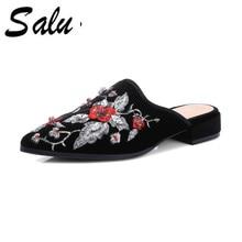 Salu Sheep Suede Sandals 2018 New Square Heels Floral Elegant Women High  Pumps Leather Shoes Size e395c651974c