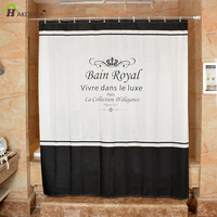 HAKOONA Polyester Bathroom Shower Curtain Crown Letter Printing Thick Waterproof Dapes With Metal Grommets Hanging Curtain