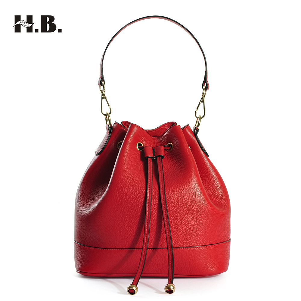 HIBO Newest Bucket Bags Mansur Gavriel Women Genuine Leather Hand Bag Lady Shoulder Bag Cross Bag Messenger Free Shipping 2016 newest mansur gavriel genuine leather women circular tote bag lady hand bag logo printed free shipping
