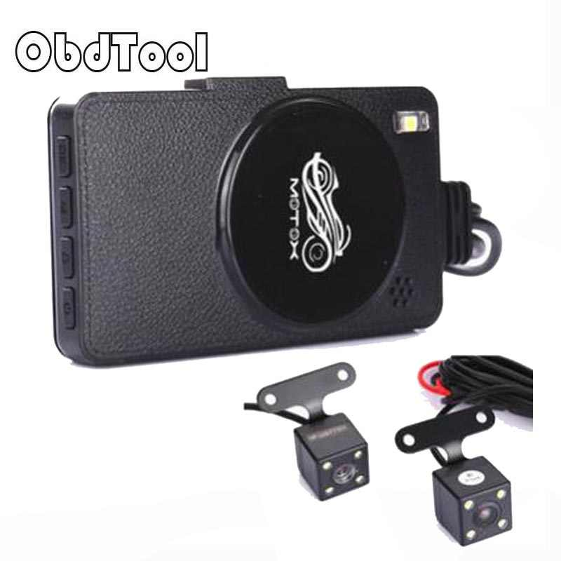 30FPS 3 дюймов ЖК-дисплей Экран видео Регистраторы Dash Cam автомобиля вождения мотоцикла Регистраторы Двойной объектив Автомобильный цифровой видеорегистратор HD четкость Автомобильный регистратор
