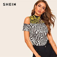 5d3aa6853f SHEIN Multicolor One Side Open Shoulder Cut-And-Sew Zebra Print Top Women  Summer Stand Collar Stretchy Fitted T-shirt Top