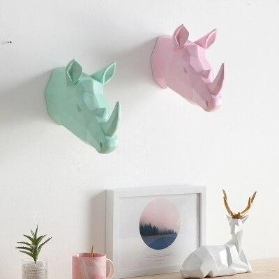 Красочные ins ветер творческие животные носороги слон гостиная комнатная настенная скандинавские украшения стен - 5