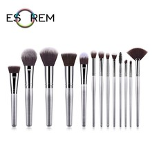 ESOREM 13pcs Makeup Brushes Metallic Silver Handle Make Up Brush Synthetic Dense Fan Eyeliner Pinceles Maquillaje 070402