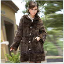 Mink Fur Coat For Women 2016 Fashion Natural Long Knitted Genuine Mink Fur Jackets For Winter sobretudo feminino longo