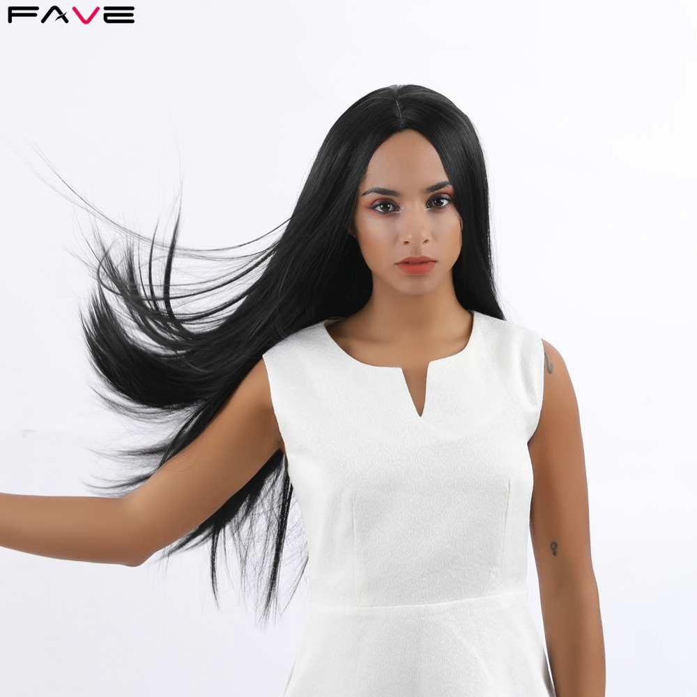 FAVE Silk Straight Long Black Synthetic Wigs Natural Black Color For Black Women Heat Resistant Middle Part Fashion Hair