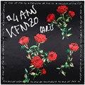 90*90 cm lenço branco das mulheres 2017 quadrado 100% sarja lenços de seda sentimento de luxo da marca lenço de seda de impressão rosa flor floral paris