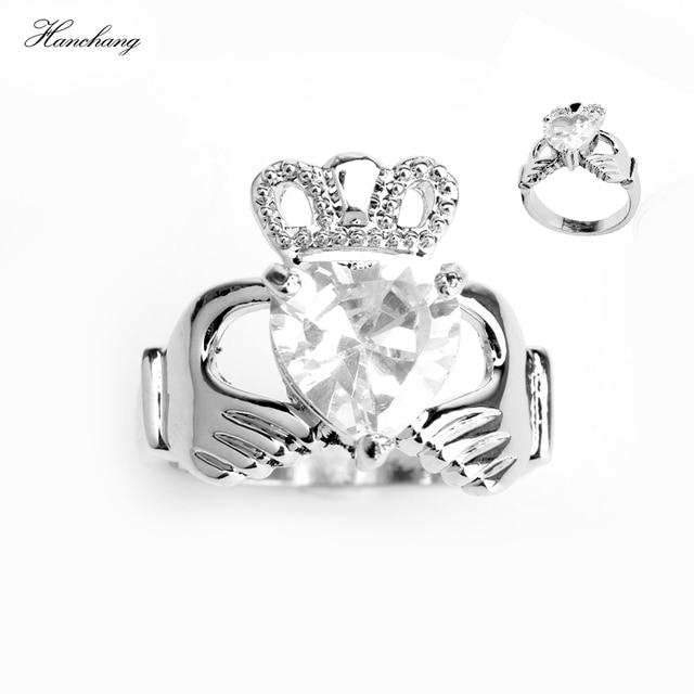 HANCHANG Love Heart Design Crown Hand Heart Clah-Duh Claddagh Rings For Women Christmas Gift Anel Fashion Jewelry Bague Gift
