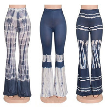Fashion Women Printing Sexy Close-Fitting Bell-Bottoms Tall Waist Pants Trousers(China)