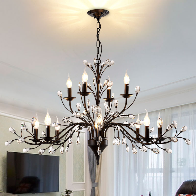 lamp restaurant Kitchen Lighting Retro antique crystal drops chandeliers Restoration Hardware lighting chandelier living room