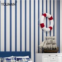 YOUMAN Modern fashion Horizontal White Blue Striped Wallpaper Roll Vertical Kids Child For Wall Living room Wallpaper Bedroom
