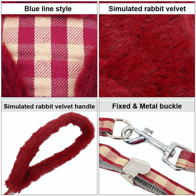Soft Puppy Dog Cat Harness Leash Set Warm Padded Plaid Pet Harnesses Vest Christmas For Small Medium Dogs Chihuahua Yorkie S M L 3