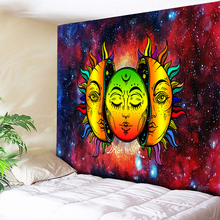 Sun Moon Tapestry Wall Hanging Psychedelic Celestial Indian Emoji Hippie Hippy Cloth Boho Art Beach Towel