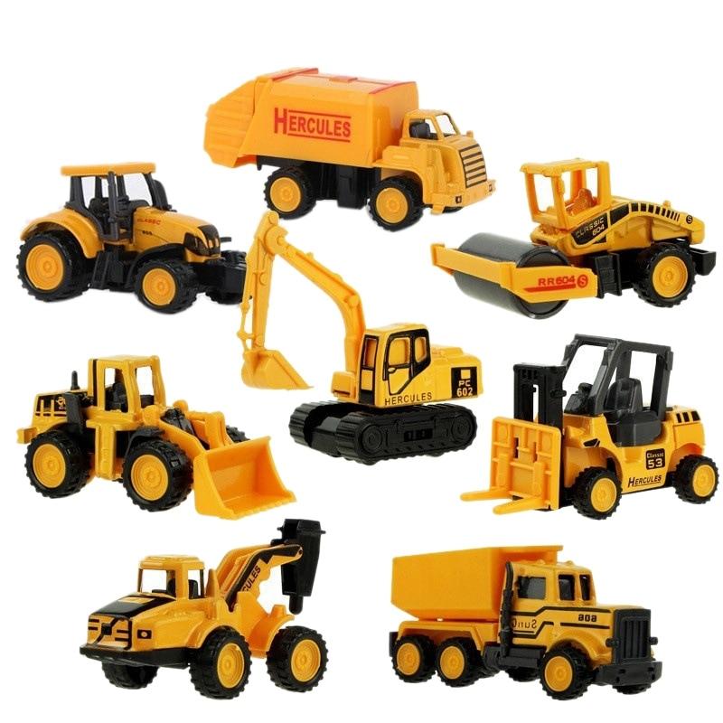 Children'S Toy Mini Set Alloy Engineering Vehicle Excavator Sliding Alloy Car Model Alloy Engineering Vehicle Model 8Pcs