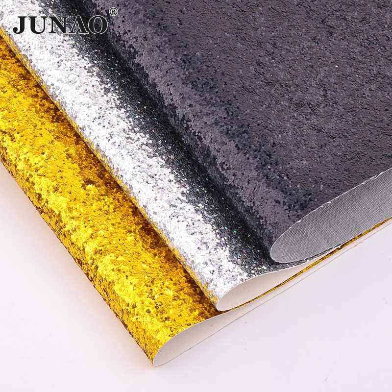 JUNAO 20*34 centimetri In Oro Argento Nero Chunky Glitter Artificiale Pelle Tessuto Ecopelle Lenzuola Paillettes Tessuto In Similpelle Artigianato
