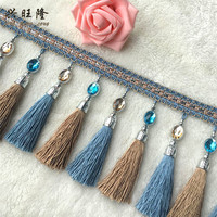 11Yard Lot 16cm Width Curtain Accessories Crystal Beads Lace Tassel Fringes Trim Ribbon DIY Drapery Cloth