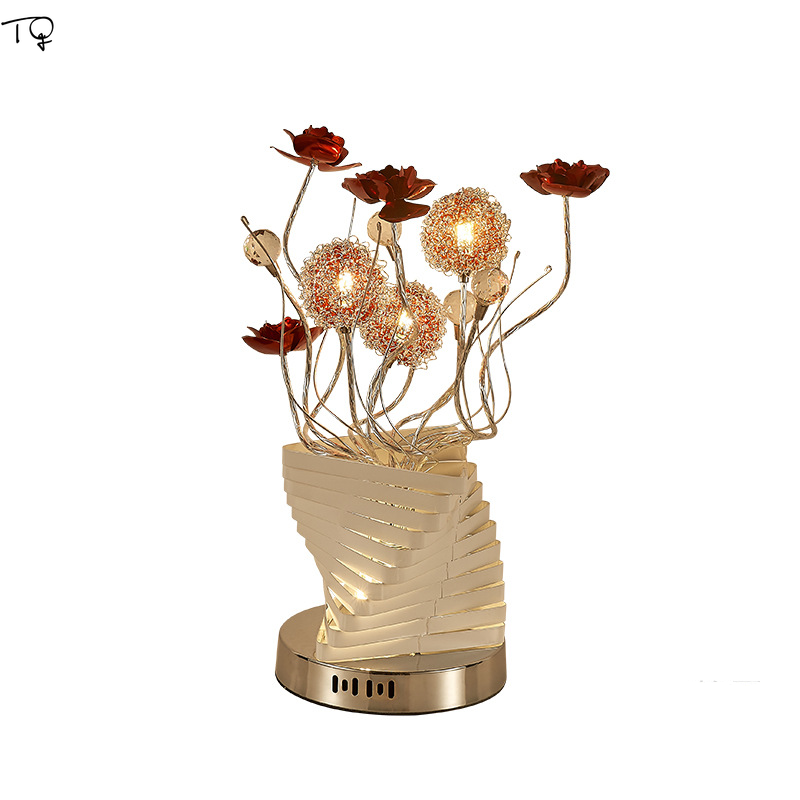 Nordic Creative Rose Gold Table Lamp Decor Marriage Wedding Room Festive Red G4 LED Light Fixture Bed Light Romantic Atmosphere