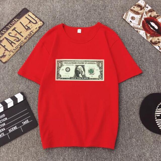 Spring Summer New T shirt Woman US Dollar Print Short Sleeve O Neck Cotton Spandex Women Tops Casual Loose T-shirt Femme
