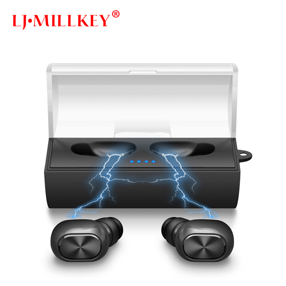 TWS Bluetooth Earphone Earbuds Touch Control Hifi Stereo Wireless Mic for Phone With Charger Charging Box Mini LJ-MILLKEY YZ124 reamx rb t11c earphone mini magnetic dock bluetooth v4 0 earphone dual usb car charger fast charging support iso android phone