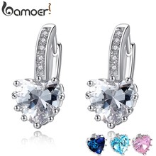 BAMOER 2018 HOT SELL Silver Color 4 Color Stones Heart Shape Trendy & Elegant AAA Zircon Stud Earring for Party n Gift YIE095(China)