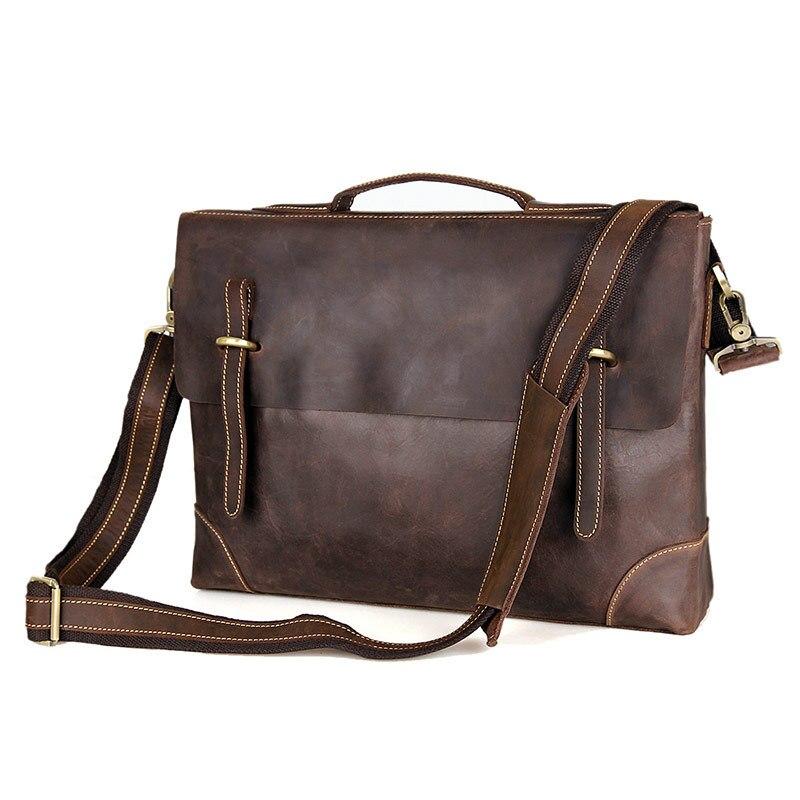 14 Crazy Männer Horse Messenger Dicken M7228 ''laptop Aktentasche Männlichen Leder Vintage Echtes Portfolios Taschen Büro Nesitu Braunen qtvwRn4