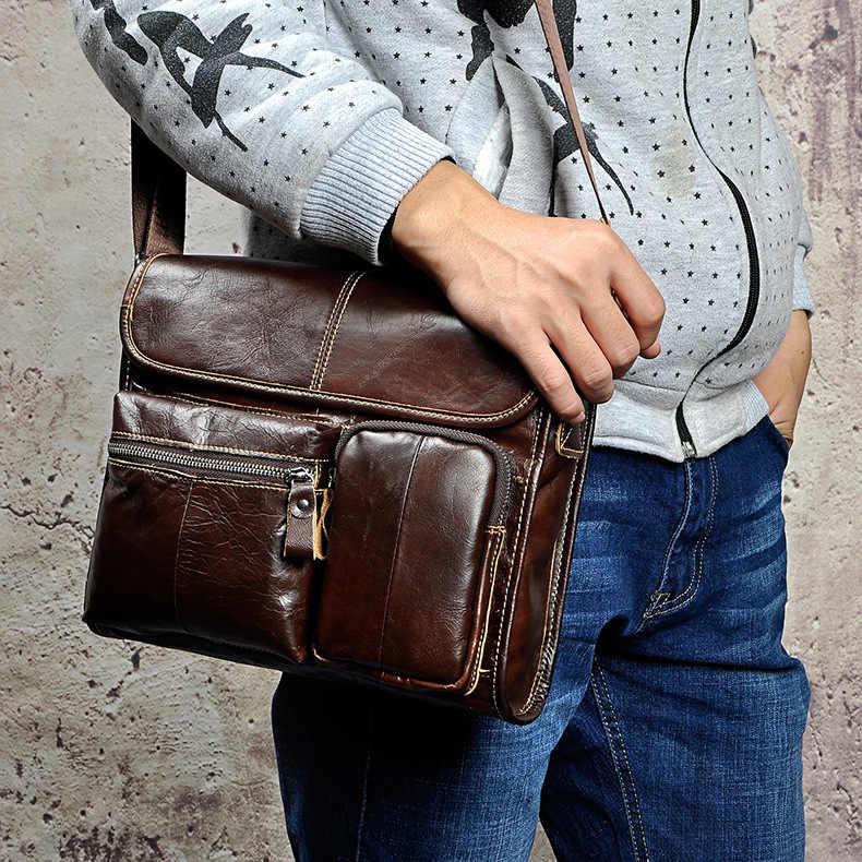 9234124db2011 ... Leather Male Designer Casual Shoulder Messenger Crossbody bag Fashion  Tablets Pad Mochila Satchel University School Book ...