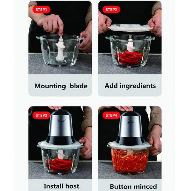Household Food Processor Meat Kitchen Blender Stainless Steel kitchen tools Meat Grinder Chopper Electric Mincing Machine 5