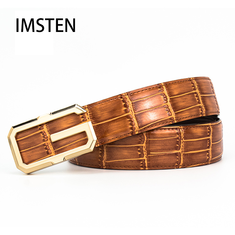 Men's Leisure G Brand Leather Belt Top Grade Smooth Buckle Belt Crocodile Belt Man