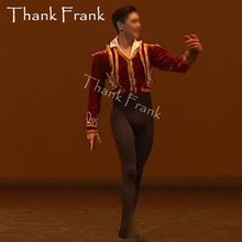 New Custom Made Man Ballet Jacket Tops Male Prince Dance Costumes Professional Ballet Coat For Boys Ballet Tunic Costume C574