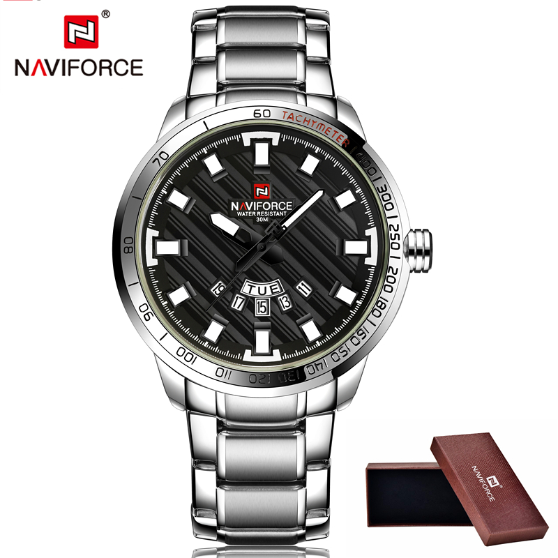 NAVIFORCE Top Luxury Brand Men Sports Watch Male Casual Full steel Date Wristwatches Men's Quartz watches Man relogio masculino 2016 biden brand watches men quartz business fashion casual watch full steel date 30m waterproof wristwatches sports military wa