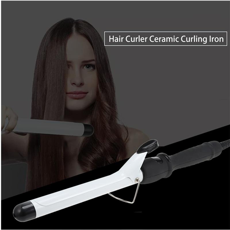 Hair Curler Roller Ceramic Glaze Curling Iron Wand Curl Tool Indicator Light Anti-Slip Handle Design Easy Operation Curler