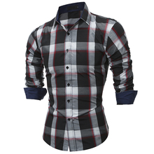 2017 Fashion Brand shirt Autumn Plaid Men Slim Dress shirt Long Sleeve Casual Social Male Shirt high quality camisa masculina YJ